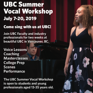 Apply Now: 2019 UBC Summer Vocal Workshop